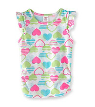 Little Miss Attitude Girls' 2T-6X Multi Heart Print Flutter Sleeve Tank