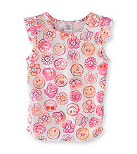 Little Miss Attitude Girls' 2T-6X Warm Smiles Print Flutter Sleeve Tank
