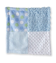Cuddle Bear® Baby Boys' Blue Patchwork Textured Snuggler Blanket