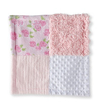 Cuddle Bear® Baby Girls' Pink Patchwork Textured Snuggler Blanket