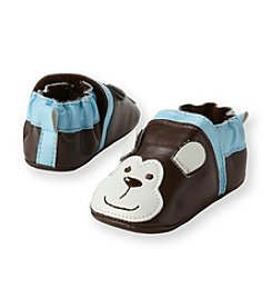 Cuddle Bear® Baby Boys' Brown Monkey Faux Leather Prewalker Slip-on