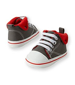 Cuddle Bear® Baby Boys' Charcoal Prewalker Canvas Hightop