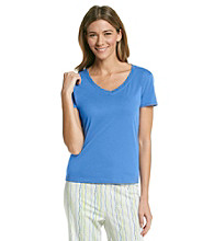 Jockey® Knit V-Neck Top - Cobalt Blue