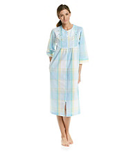 Miss Elaine® Long Seersucker Zip Robe - Aqua Plaid