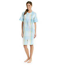 Miss Elaine® Short Seersucker Zip Robe - Aqua Plaid