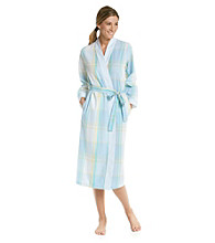 Miss Elaine® Long Seersucker Wrap Robe - Aqua Plaid