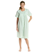 Miss Elaine® Short Seersucker Snap Robe - Mint Stripe
