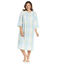 Miss Elaine® Plus Size Long Seersucker Zip Robe - Aqua Plaid