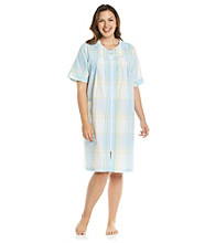 Miss Elaine® Plus Size Short Seersucker Zip Robe - Aqua Plaid