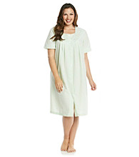 Miss Elaine® Plus Size Short Seersucker Snap Robe - Mint Stripe