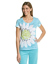 HUE® Beach Blue Knit Screenprint Burnout Top - Camille Floral
