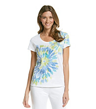 HUE® Beach Blue Knit Screenprint Burnout Top - Danielle Floral