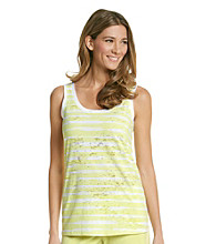 HUE® Knit Sunny Lime Screenprint Burnout Tank - Sophie Stripe