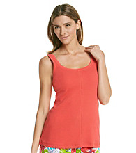 HUE® Ribbed Tank Top - Hibiscus Red