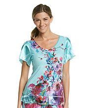 Oneworld® Satin Sleeve Knit Top - Petal About Teal