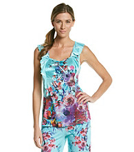 Oneworld® Ruffled Sleeveless Knit Top - Petal About Teal