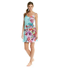 Oneworld® Teal Knit Strappy Tank Chemise - Undersea Blooms