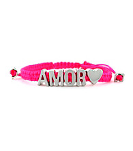 BCBGeneration™ Hot Pink with Silvertone Amor Friendship Affirmation Bracelet