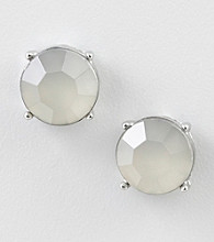Relativity® Silvertone Faceted Button Earrings