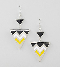 Relativity® Silvertone Zig Zag Drop Earrings