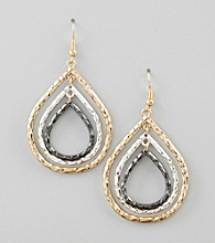 Relativity® Tri-Tone Textured Layered Drop Earrings