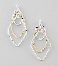 Relativity® Two Tone Textured Interlock Drop Earrings
