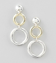 Relativity® Two Tone Post Circle Drop Earrings