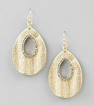 Relativity® Goldtone Textured Faceted Drop Earrings