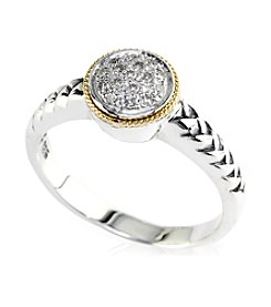 Effy® Sterling Silver and 18K Gold Diamond Ring