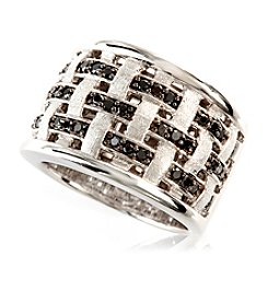 Effy® Black Diamond Weave Band Ring in Sterling Silver