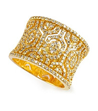 Effy® Diamond Wide Band Ring in 14K Yellow Gold