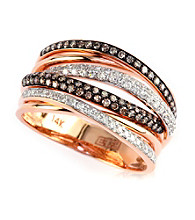 Effy® Brown and White Diamond Band Ring in 14K Rose Goldtone