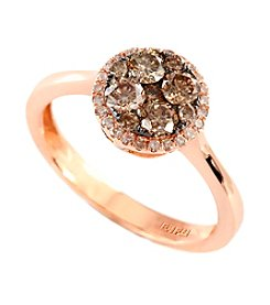 Effy® Brown and White Diamond Cluster Ring in 14K Rose Goldtone