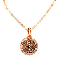 Effy® Brown and White Diamond Cluster Pendant in 14K Rose Goldtone