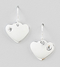 Designs by FMC Sterling Silver Heart Polished Drop Earrings