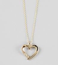 Designs by FMC 18K Gold over Sterling Silver Open Heart with Cubic Zirconia Pendant