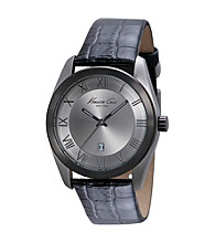 Kenneth Cole New York® Men's Classic Three Hand Grey Dial with Black Croco Embossed Leather Strap Watch