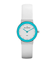 Skagen Denmark Women's White Leather Watch with Turquoise Bezel