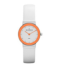 Skagen Denmark Women's White Leather Watch with Orange Bezel