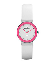 Skagen Denmark Women's White Leather Watch with Pink Bezel