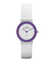 Skagen Denmark Women's White Leather Watch with Purple Bezel