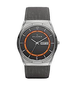 Skagen Denmark Men's Titanium Watch with Orange Accents