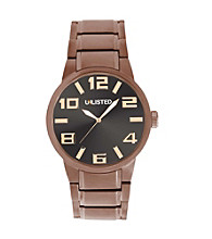 Unlisted by Kenneth Cole® Men's Brown Watch with Gunmetal Dial and Large Goldtone Numbers