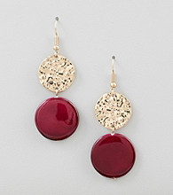 Erica Lyons® Dark Pink Shockwave Drop Pierced Earrings