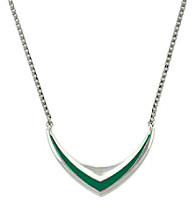 BCBGeneration™ Beatrix Kiddo Silvertone and Green Necklace