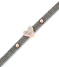 BCBGeneration™ Grey Canvas and Rose Goldtone Heart Mini Bracelet