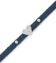 BCBGeneration™ Dark Blue Canvas and Silvertone Heart Mini Bracelet