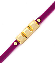 BCBGeneration™ Plum and Goldtone Mini Charm Rubber Bracelet