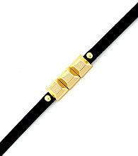BCBGeneration™ Black and Goldtone Mini Charm Rubber Bracelet