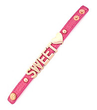 BCBGeneration™ Pink Canvas and Rose Goldtone Sweet Heart Affirmation Bracelet